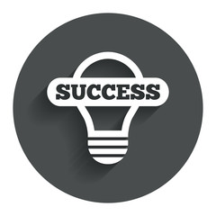 Light lamp sign icon. Bulb with success symbol