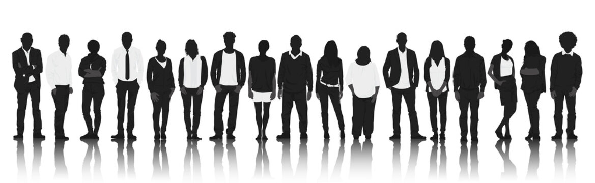 Silhouettes Group of Casual People in a Row