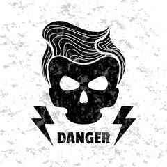 Skull hipster. Vector illustration. Template for design t-shirts