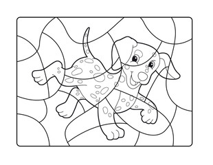 Cartoon coloring page with a happy dog running - isolated - illustration for children