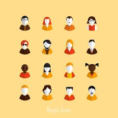 Set of stylish avatars of girls and guys