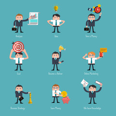 Set of Flat Style Icons for Business
