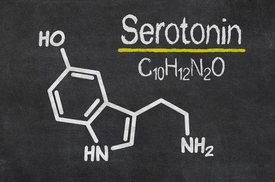 Schiefertafel mit der chemischen Formel von Serotonin