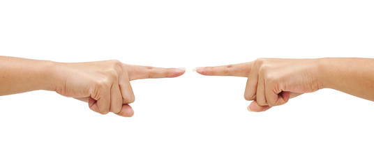 Two hand pointing sign isolated on white background