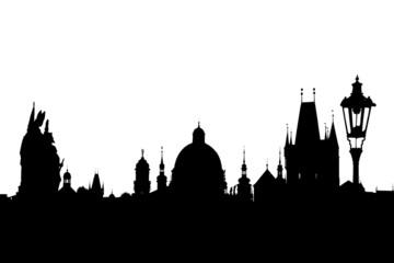 Deurstickers Charles bridge silhouette, Prague, Czech Republic