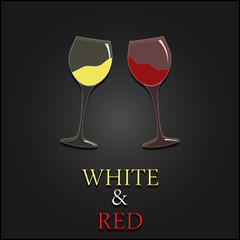 Wine menu two glasses design background. Vector
