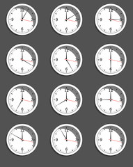 clocks showing different time. Vector