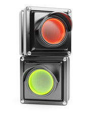 Red and green parts of traffic light