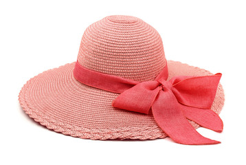 Pink straw hat with bow