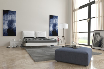 Comfortable contemporary grey and white bedroom
