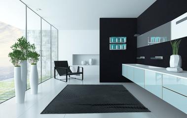 Modern black luxurios bathroom interior
