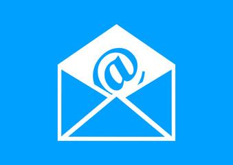 White envelope icon on blue background