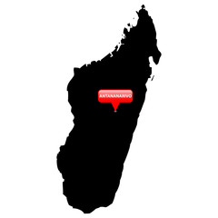 Map with the Capital in a red bubble - Madagascar