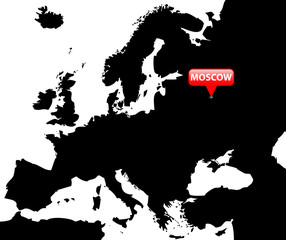 Map over Europe with the Capital in red bubble - Moscow.