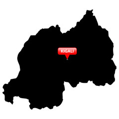 Map with the Capital in a red bubble - Rwanda.