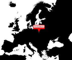 Map over Europe with the Capital in red bubble - Warsaw.