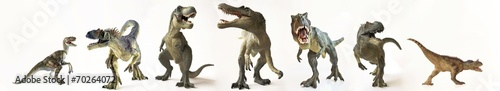 A Group of Seven Dinosaurs in a Row