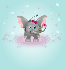 Cute elephant on floral background