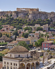 Athens acropolis and Plaka old neighborhood, Greece