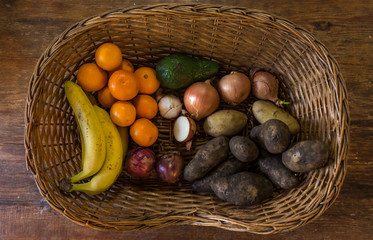Cenital View of a Fruit and vegetables basket.