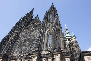 view on gothic mosaic of St. Vitus cathedral in Prague