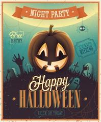 Wall Mural - Happy Halloween Poster. Vector illustration.