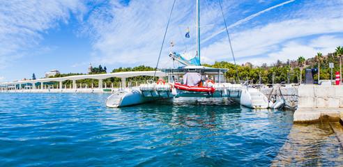 Catamaran at port