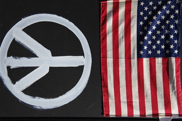 1949 american flag with peace sign artwork