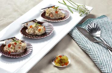 Plate of tuna on shells.
