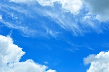 Blue sky with some white cirrus clouds. Natural background