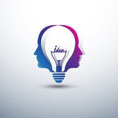 Creative head Idea concept form light bulb icon ,vector illustra