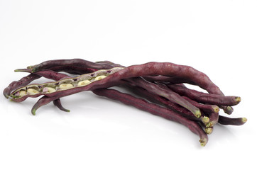 Fresh yardlong red bean on a white background