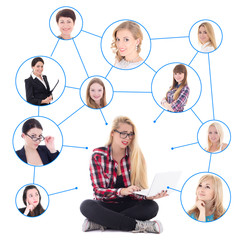 teenage girl with laptop and her social network isolated on whit