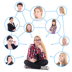 teenage girl with smart phone and her social network isolated on