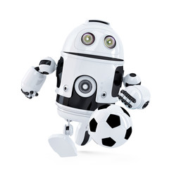 Robot playing football. Isolated. Contains clipping path