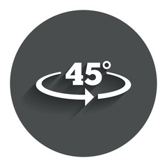 Angle 45 degrees sign icon. Geometry math symbol