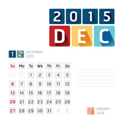 2015 Calendar Calendar Vector  Design. December