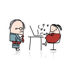 Angry boss and secretary, cartoon for your design