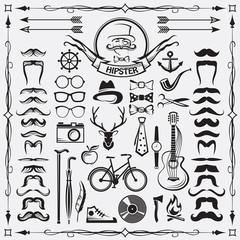 set of vintage hipster style elements