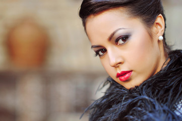Glamour portrait of beautiful woman model with fresh daily makeu