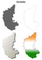 Karnataka blank detailed outline map set