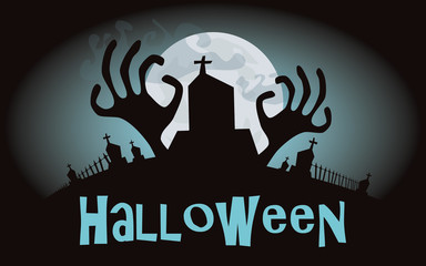 Halloween background. Vector illustration with cemetery