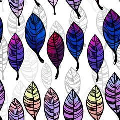Watercolor stylized leaves seamless pattern