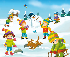 Winter cartoon illustration for the children