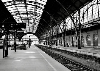 atmosphere at a train main station