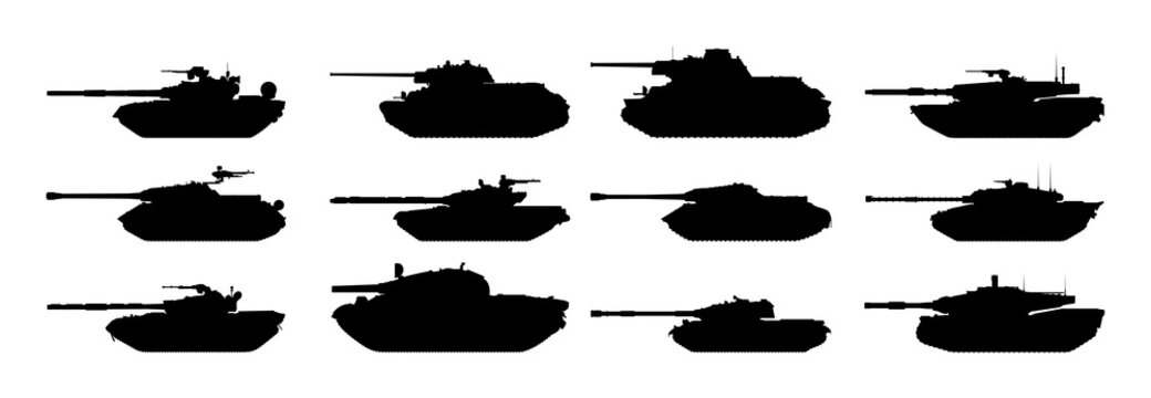 Tanks silhouettes set. Vector EPS10.