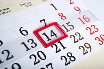 calendar days with numbers close up