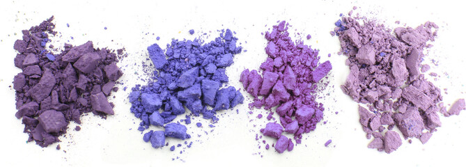 Sale concept. Colorful crushed eyeshadow isolated on white