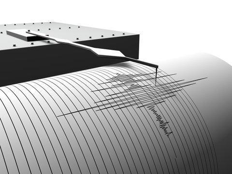 Aardbeving meten met een seismograaf