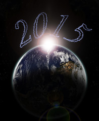 dawn of year 2015 on earth -Elements of this image furnished by